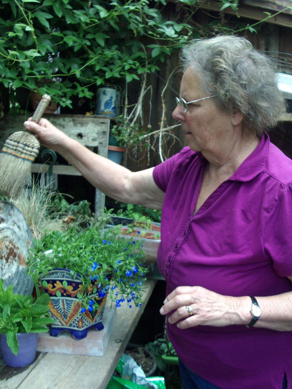 Carol in her garden.