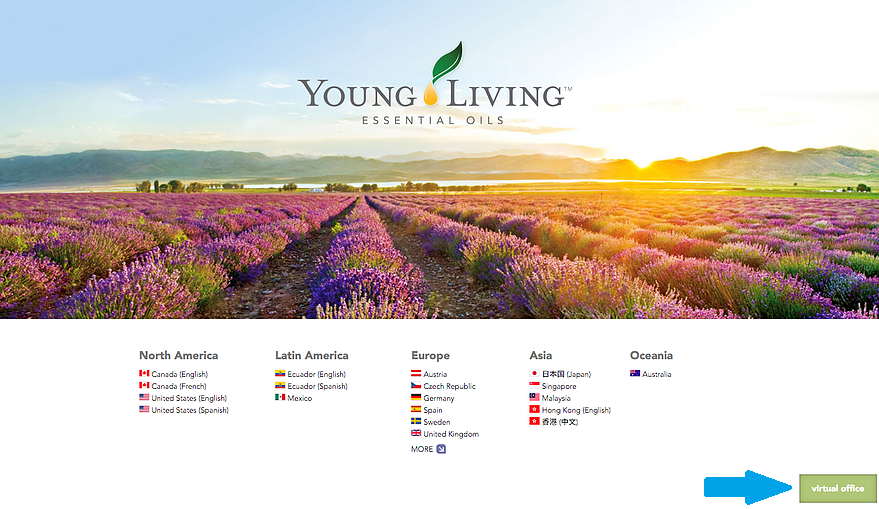 Go to youngliving.com and click on Virtual Office found at the bottom right hand corner of the homepage.