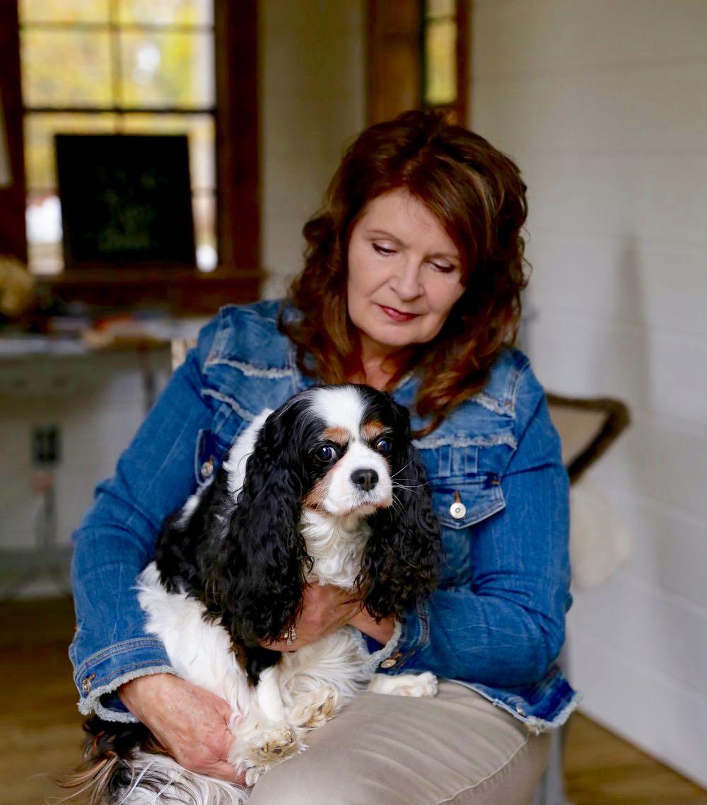 Lady and a dog - sad