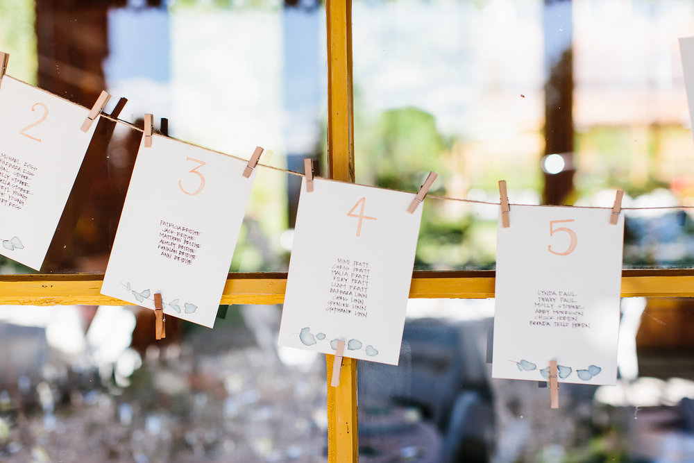 nick+christine | JULY 2018  Watercolor/script seating chart and table signage.  PHOTOGRAPHER:  SHELBY BRAKKEN   VENUE:  MT. HOOD ORGANIC FARMS