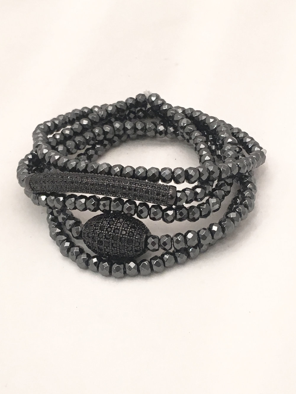 Black Hematite Stack Bracelets