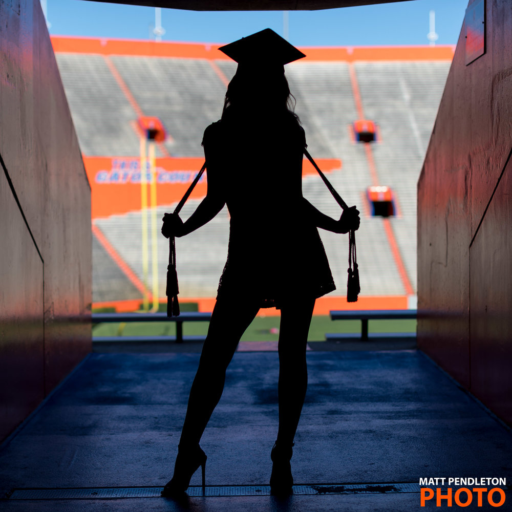Grad photo session featuring Lizzie Dulin on Wednesday, April 26, 2017 at Ben Hill Griffin Stadium in Gainesville, FL / Photo by Matt Pendleton for Matt Pendleton Photography (mattpendleton.com)