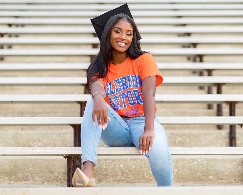 Grad photo session featuring Aniya Flanagan on Wednesday, August 8, 2018 at Ben Hill Griffin Stadium in Gainesville, FL / Photo by Matt Pendleton for Matt Pendleton Photography.