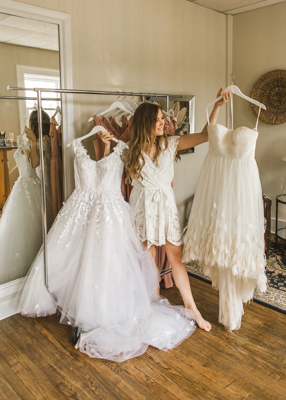 Bridget is a dress designer in Detroit and she made BOTH of her dresses. Go look at her stuff! It is magical. To say that I was excited to see them in person was an understatement. This morning was all about Bridget and her dresses and I couldn't have been happier.