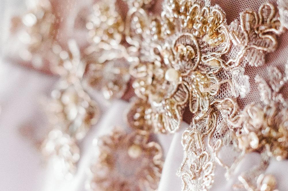 Floral Gold Wedding Dress