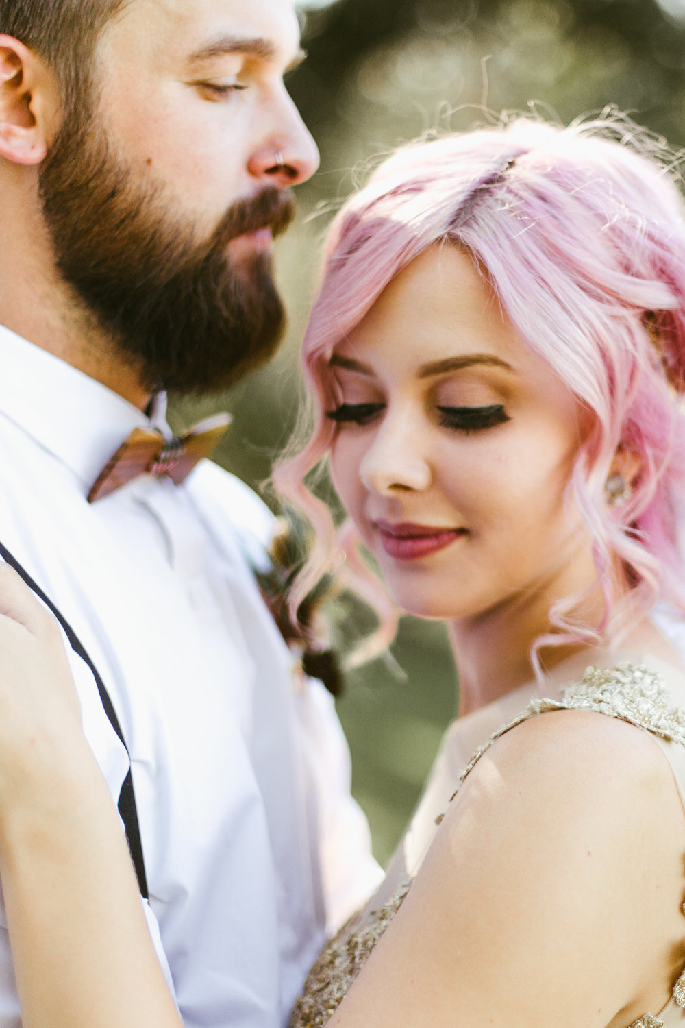 First Look Bride with pink hair and gold wedding dress
