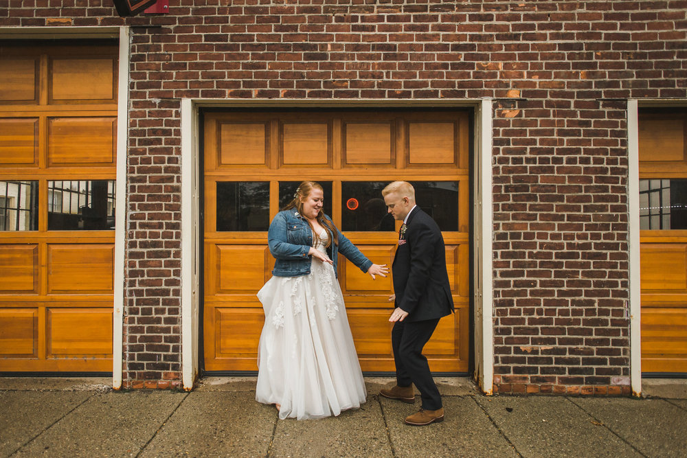 Downtown Ypsilanti Wedding Photos Bridal Jean Jacket