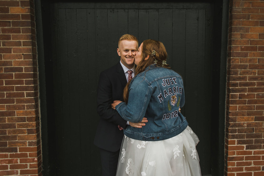 Downtown Ypsilanti Wedding Photos Bridal Just Married Jean Jacket