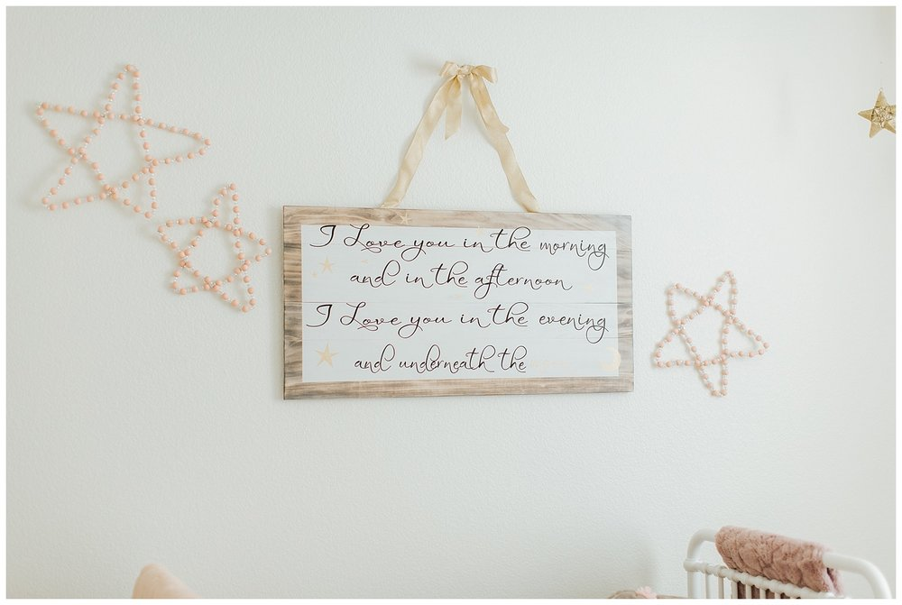 I like to get a few pictures of the nursery decor as well, so much heart and thought goes into the nursery and your baby is only a baby for so long. Soon the room will change and I want you to be able to look back at the surroundings.