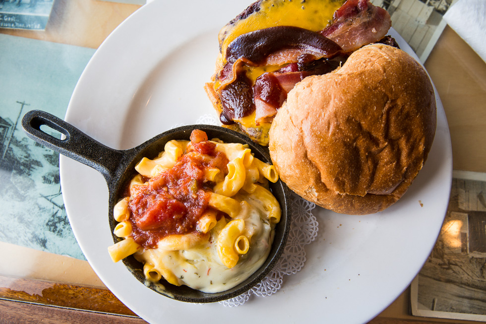 American Southwest food - one-pound burger with a side of mac an
