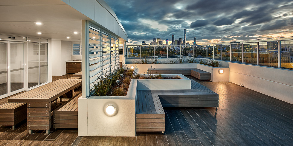 DoubleOne 3 mixed-use architectural project photography - roof deck with city views