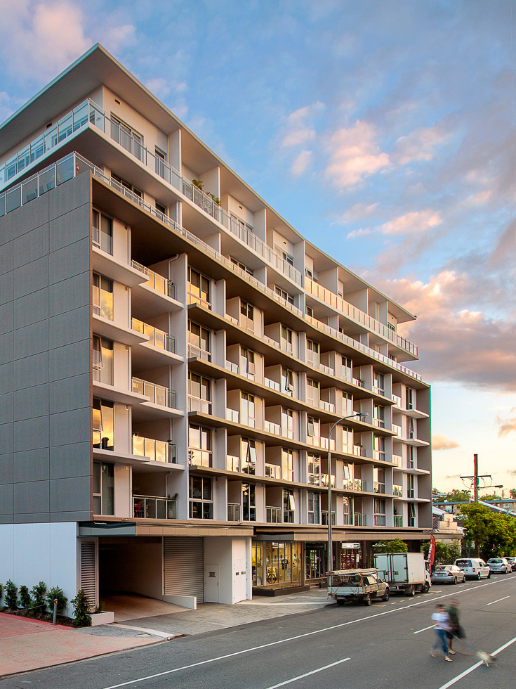 DoubleOne 3 mixed-use architectural project photography - dusk exterior