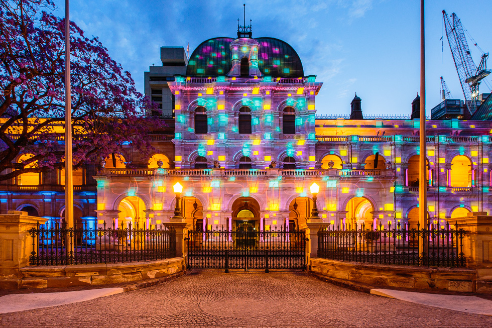 Parliament House in Brisbane is lit up during a light projection show happening nightly from October 24 to November 9 as part of the city's Queensland Government's G20 Cultural Celebrations ahead of the G20 Leaders Summit.