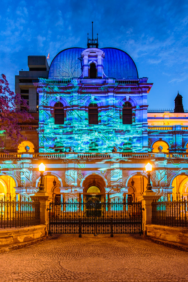 Parliament House in Brisbane is lit up during a light projection show happening nightly until November 9 as part of the city's Queensland Government's G20 Cultural Celebrations ahead of the G20 Leaders Summit.