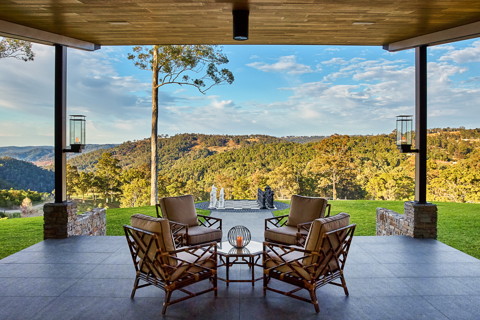 Residential architecture photography: Luxe Lodge rear alfresco