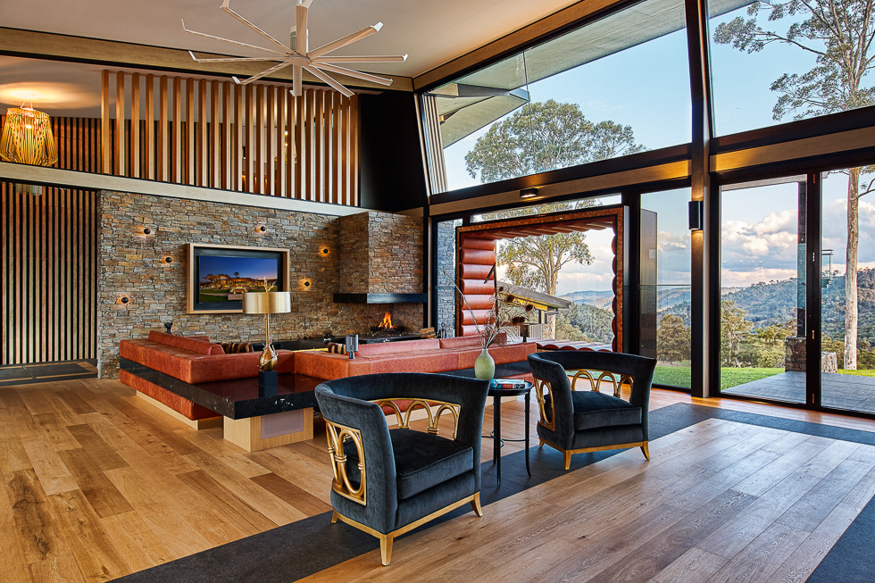 Residential interior design photography: Luxe Lodge living space