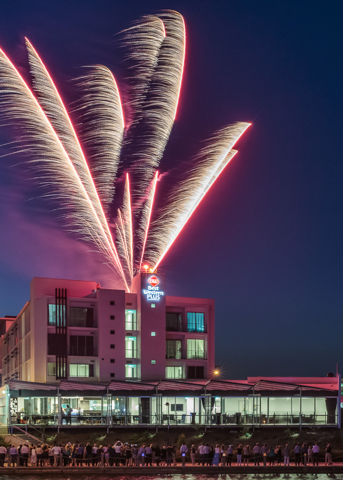 Fireworks at the grand opening of Best Western Plus Oceanside Kawana, which I photographed earlier this month the night before shooting a marketing image library showcasing the hotel's room interiors,guest facilities, restaurant and menu.