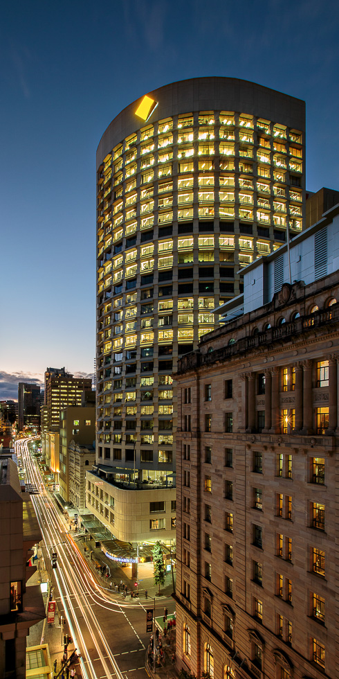 Architectural photography of 240 Queen Street, Brisbane, created as part of Design Suite's brief for the Brookfield Commercial Operations lease-marketing campaign.