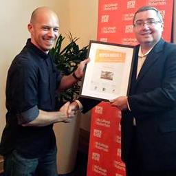 Me accepting the commendation certificate from Stuart Macnaughton. Photo: Paula McKie