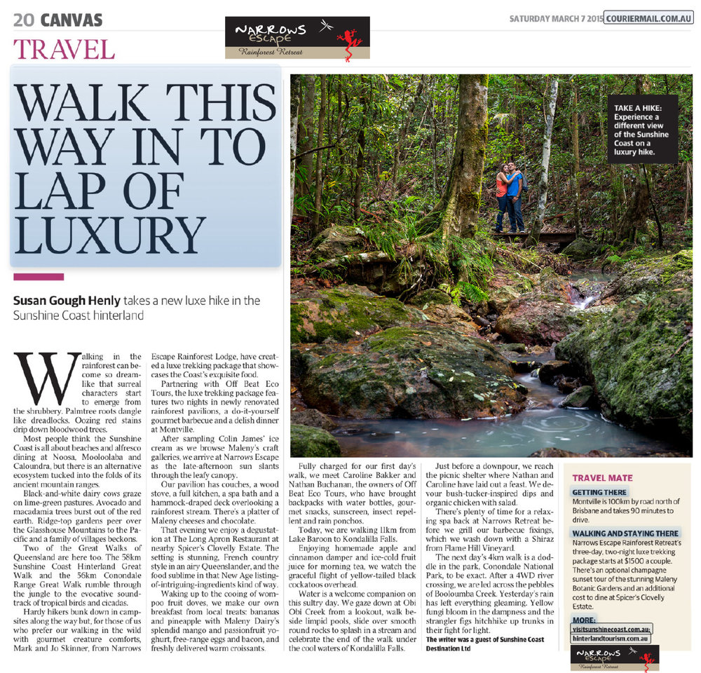 Tearsheet from The Courier-Mail (March 7, 2015) featuring one of my Narrows Escape Rainforest Resort photographs.
