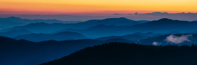 Sunset from Clingmans Dome in Great Smoky Mountains National Par