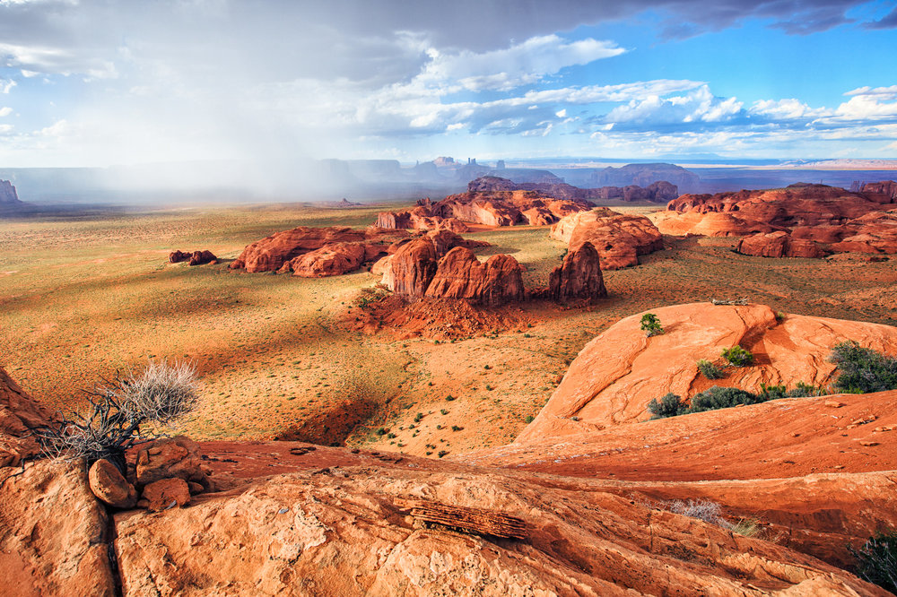 Monument Valley storm seen from Hunts Mesa in the Navajo Nation