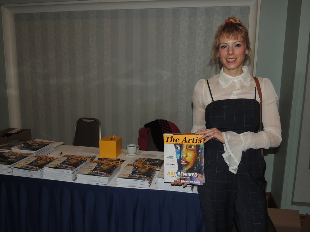 Ivy Reiss, publisher & editor in chief of  The Artis  showcases the 3rd issue, featuring  The 905's Group of Four  for the  Art Rewired  spotlight event, held on February 1st 2018 at the Waterside Inn, Mississauga, ON. Photo by Mira Louis.