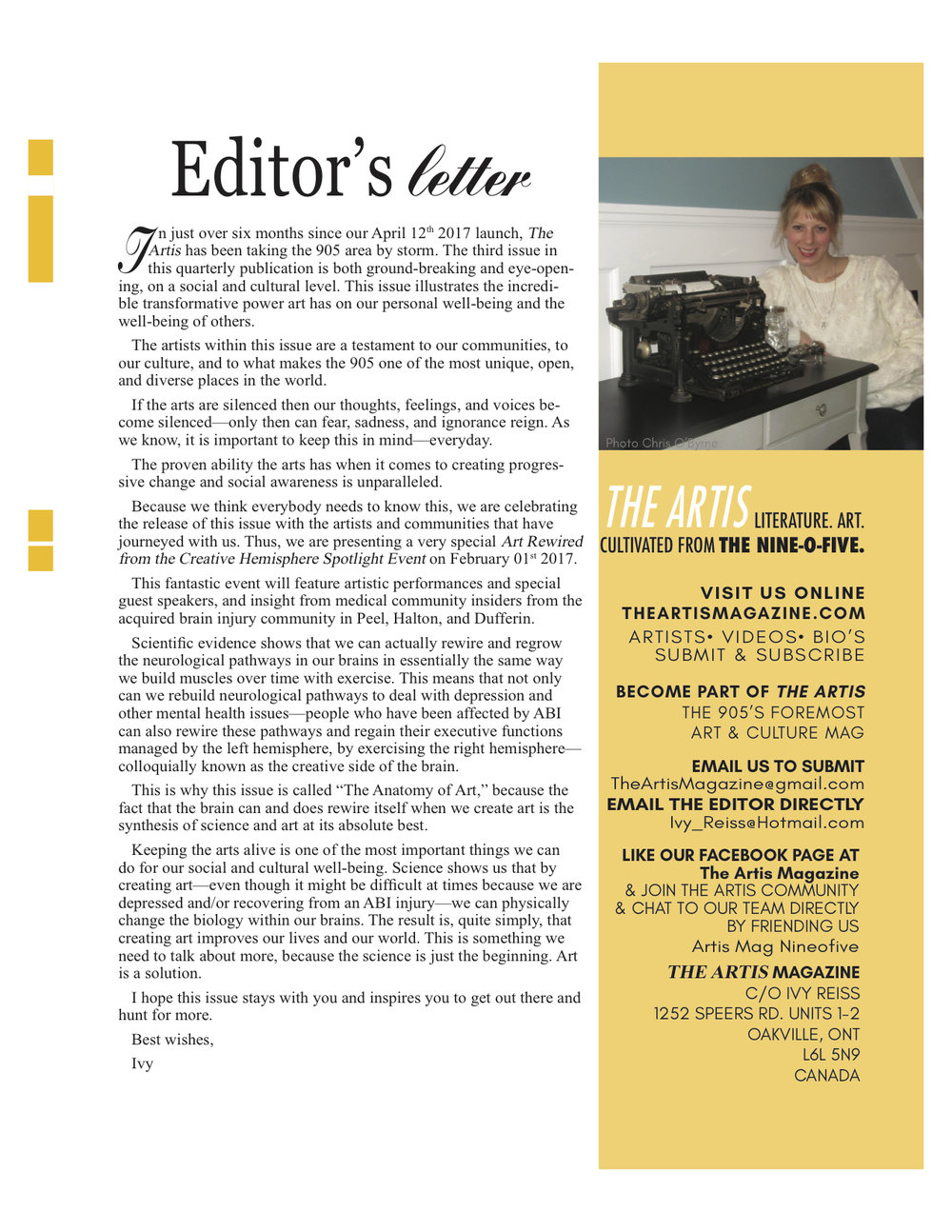 Read  The Artis 3  Editor's Letter to see the vision for this issue and event.