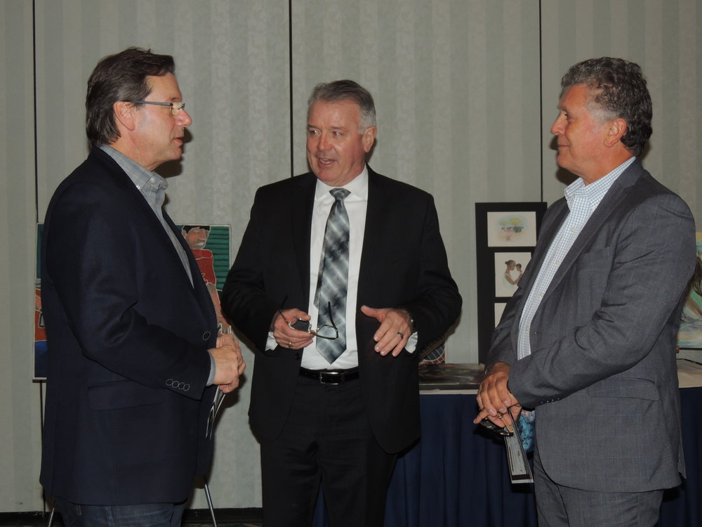 MPP Kevin Flynn (centre) with colleagues Brad & Bill. Photo by Mira Louis.