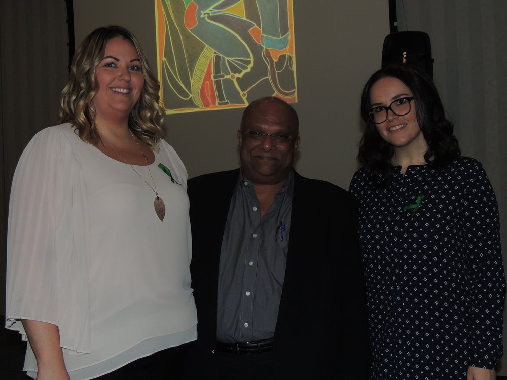 Neuropsychiatrist Dr. Seyone (centre) with Mind Forward Brain Injury Services team members Ashley Budd & Lisa Philips-Borges. Photo by Mira Louis.