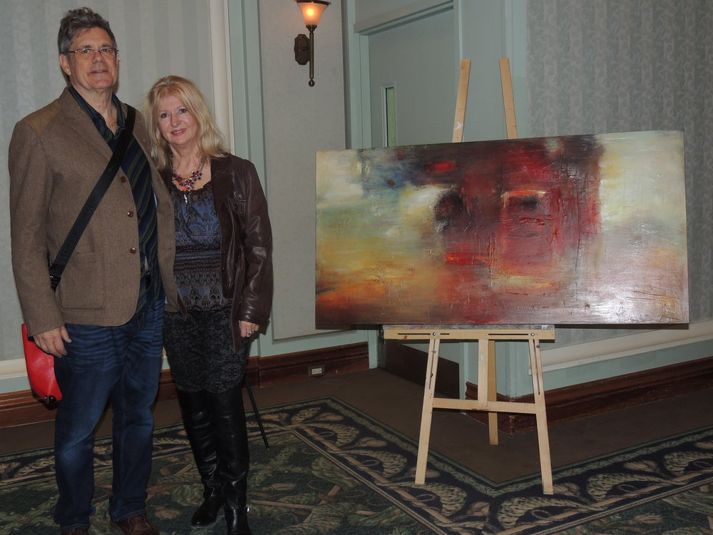 The Artis  contributors Laurence Hutchman & Eva Kolacz with one of Eva's renowned pieces. Photo by Mira Louis