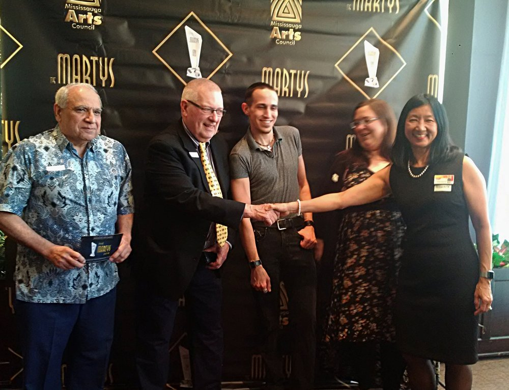 """Literary Arts—Emerging"" Finalists:   Paul Climans ,  MAC Director Ron Duquette ,  Paul Edward Costa , and  Michelle Hillyard  flanked by  MAC President Jeanette Chau  (left to right)"