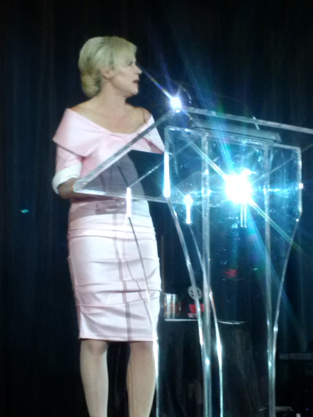 Mississauga Mayor Bonnie Crombie  gives a keynote speech, and wears one of Maya Charbin's award winning designs.