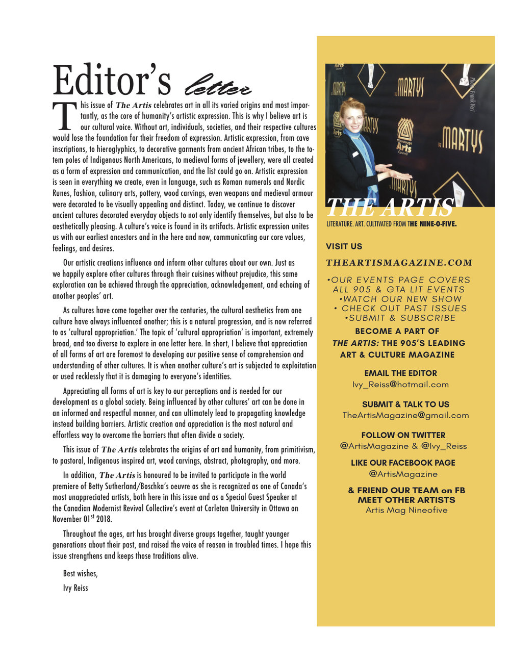 The Artis 4: Origins of Art  issue: Editor's Letter