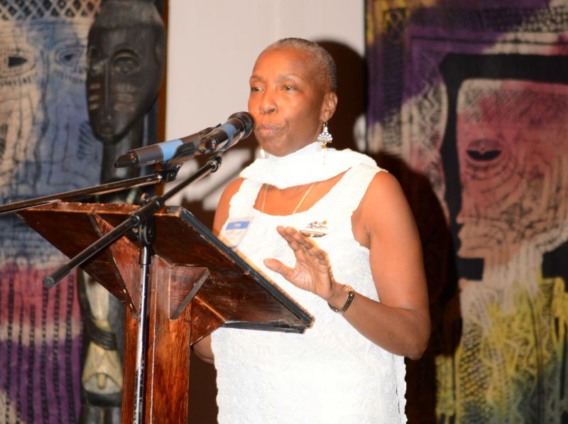 "AFJ Executive Director Soffiyah Elijah speaks at the organization's launch party in September 2016. ""We are going to speak out for the end of  all  human rights violations behind bars and demand that Attica be shut down,"" she said."