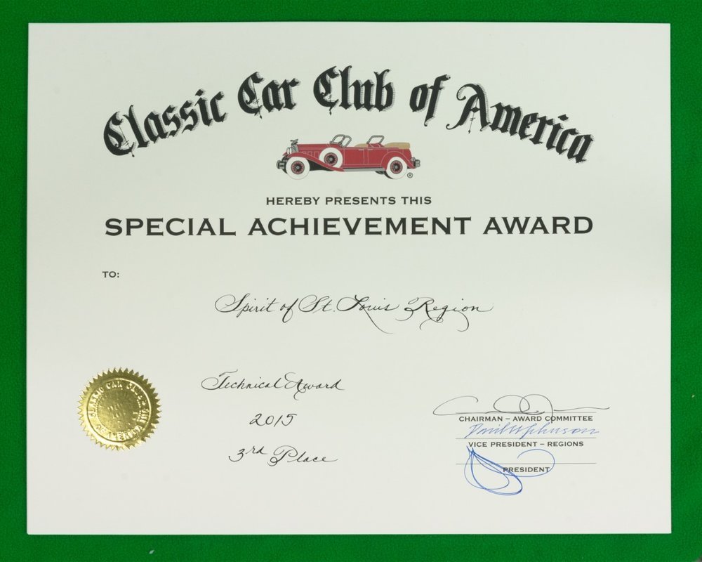 Technical Service Award, 3rd Place - 2015 Also awarded to SSR in 2004, 2009 and 2010  Presented annually at the National Annual Meeting to Regions that made the most superior contribution to the technical aspect of restoring and maintaining Classic automobiles.