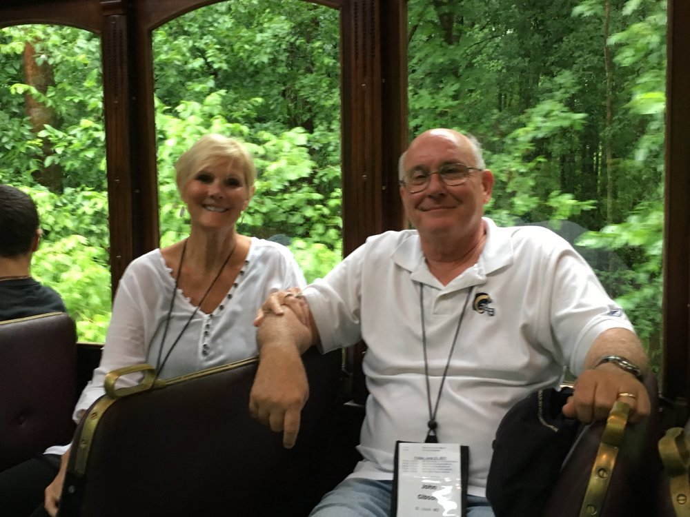 John and Rose Gibson enjoying a ride on a vintage train between the two host hotels