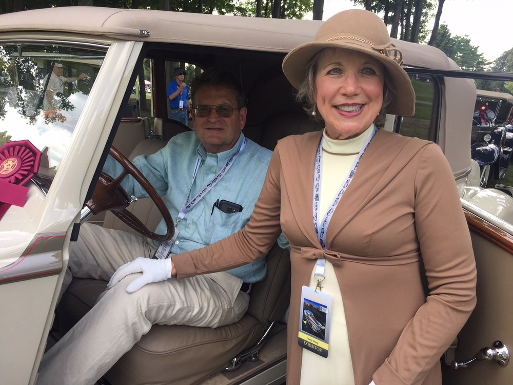 Allen and Nancy Strong and their Lion Award winning 1936 Packard 1405 Super Eight Stationary Victoria by Rollston