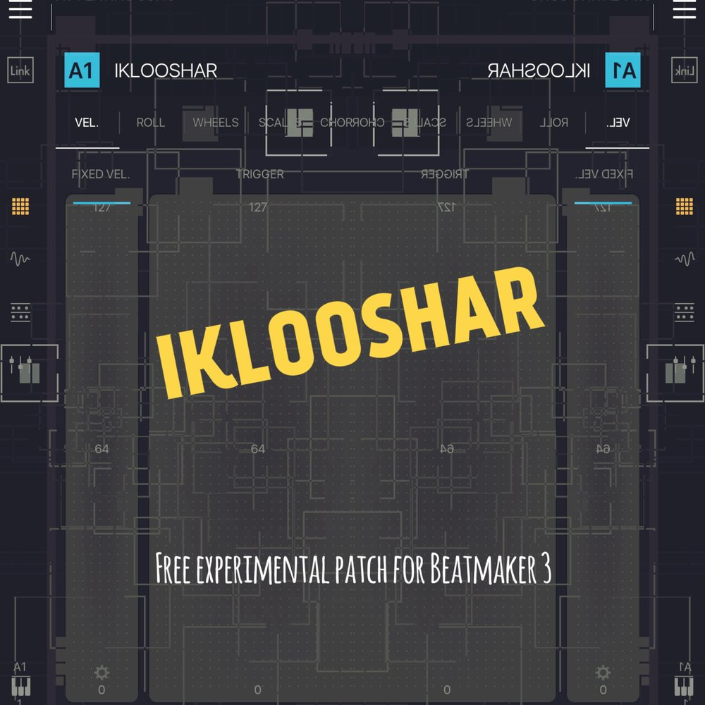 IKLOOSHAR - Free experimental patch for Beatmaker 3CLICK HERE TO DOWNLOAD This patch is an ultra-layered sound design experiment.The original source sample is from a saw being used in a puppet workshop!(Check out the video if you haven't already: https://.youtu.be/oqu2z2-V6u4)