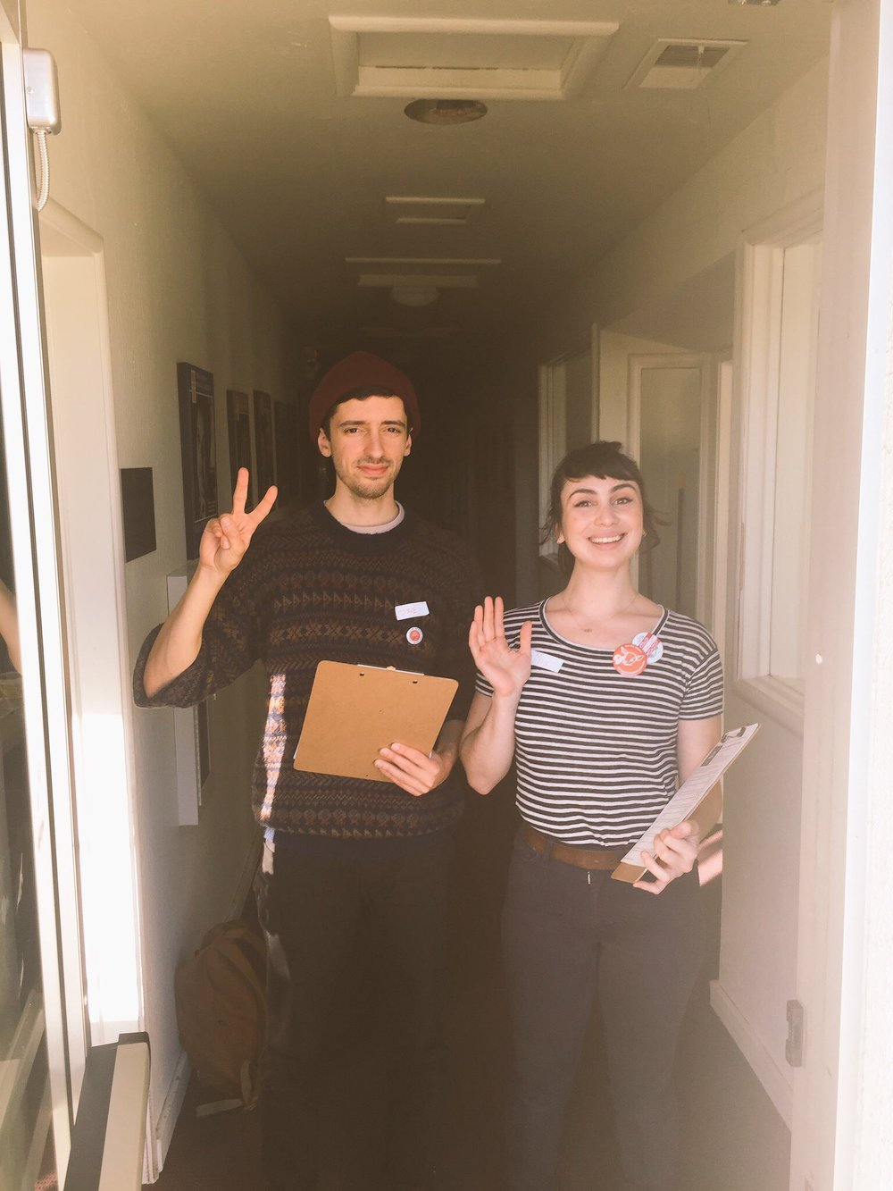 Two DSA members about to canvass