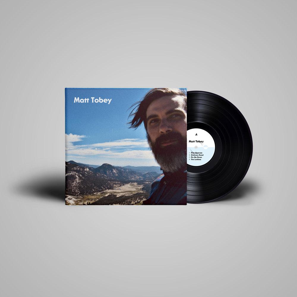 LP record cover & vinyl label (A) for  Matt Tobey .  2018 .