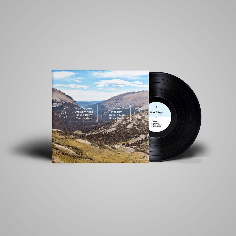 LP record cover & vinyl label (B) for  Matt Tobey .  2018 .