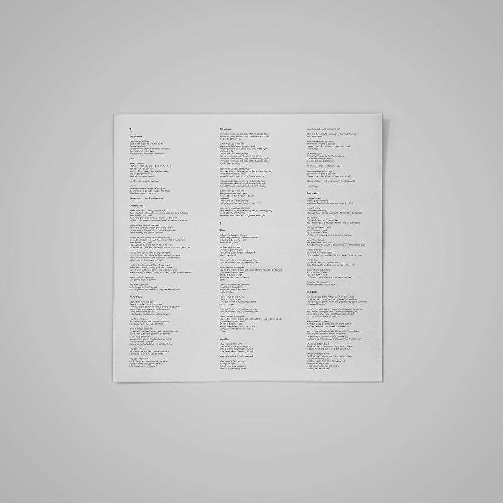 LP record insert/lyric sheet (2) for  Matt Tobey .  2018 .