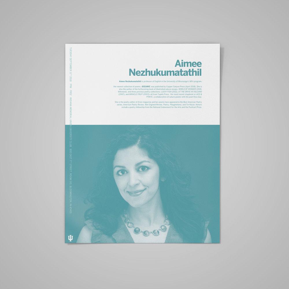 Poster for the  Indiana University MFA Reading Series , featuring Aimee Nezhukumatathil.  2018 .