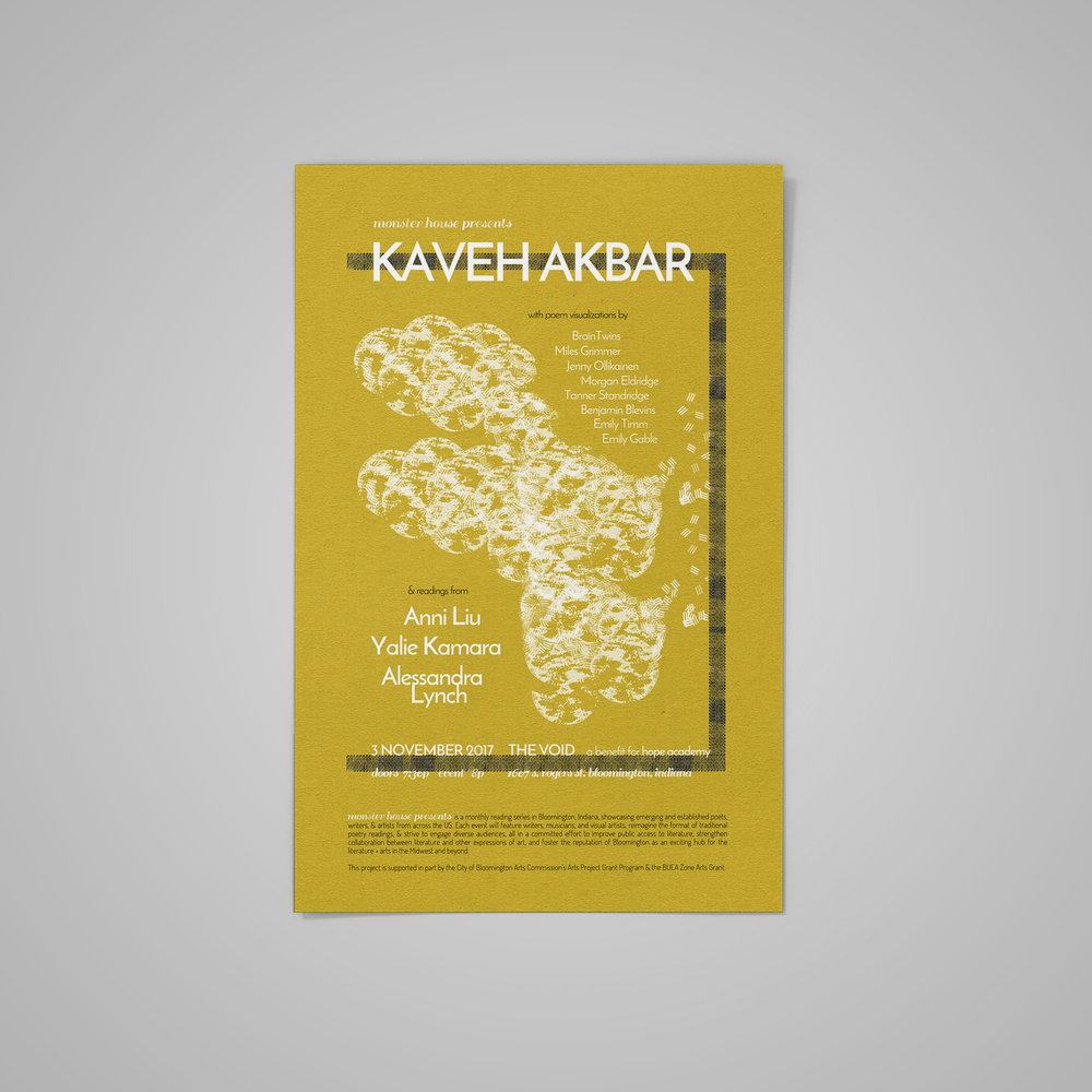 Poster for  Monster House Presents: Kaveh Akbar .  2017 .
