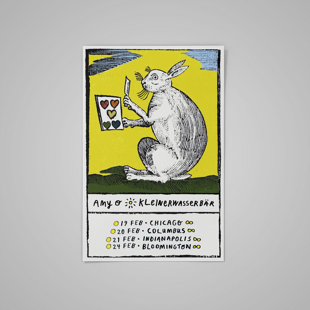 Poster/tarot card for  Amy O / Kleinerwasserbär Tour .  2016 .