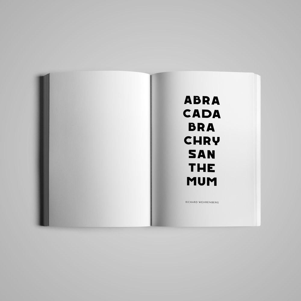 Book interior (1) for  w the trees .  Abracadabrachrysanthemum  by Richard Wehrenberg.  2018.
