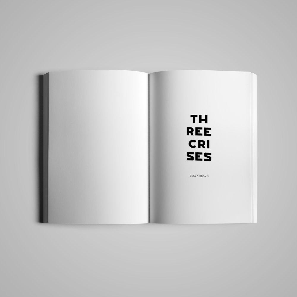 Book interior (1) for  w the trees .  Three Crises  by Bella Bravo.  2018.
