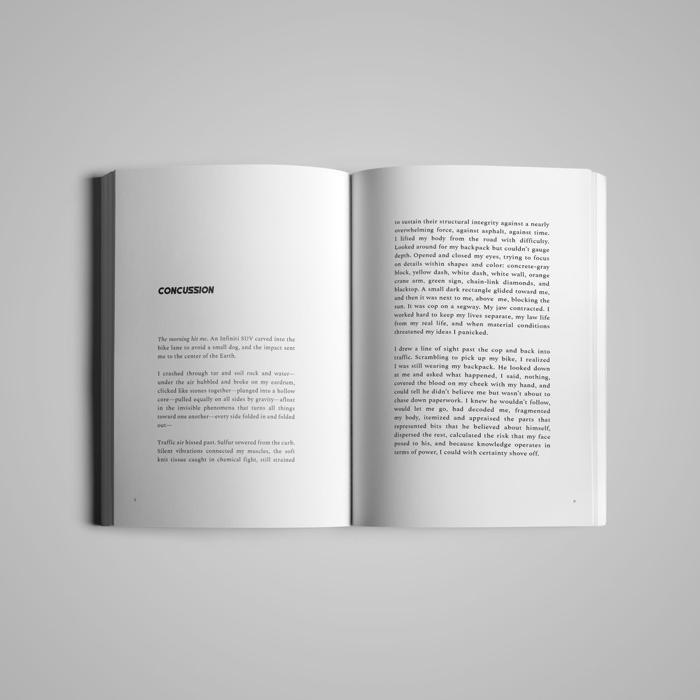 Book interior (2) for  w the trees .  Three Crises  by Bella Bravo.  2018.