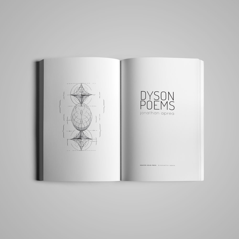 Book interior (1) for  Monster House Press .  Dyson Poems  by Jonathan Aprea.  2018.